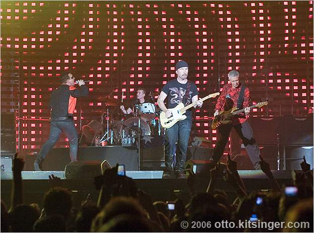 Live concert photo of Bono, Larry Mullen Jr, The Edge, Adam Clayton