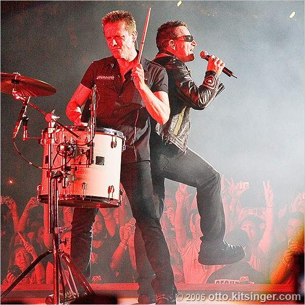 Live concert photo of Larry Mullen Jr, Bono