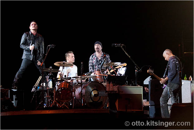Live U2 concert photo of Bono, Larry Mullen Jr, The Edge, Adam Clayton