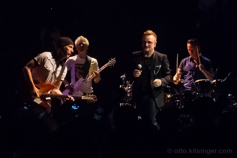 Live concert photo of The Edge, Adam Clayton, Bono, Larry Mullen Jr