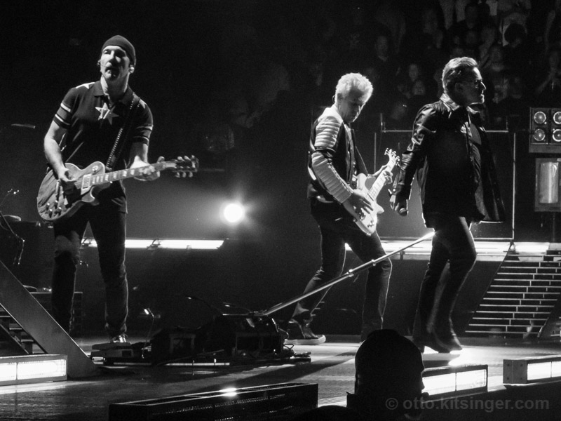 Live concert photo of The Edge, Adam Clayton, Bono